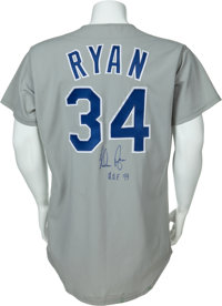 brand new 57ed4 3a89a 1992 Nolan Ryan Game Worn Texas Rangers Jersey.... Baseball ...