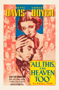 "Movie Posters:Drama, All This, and Heaven Too (Warner Brothers, 1940). One Sheet (27"" X41"").. ..."