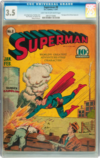 Superman #8 (DC, 1941) CGC VG- 3.5 Light tan to off-white pages