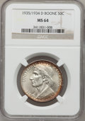 Commemorative Silver: , 1935/34-D 50C Boone MS64 NGC. NGC Census: (110/325). PCGSPopulation (142/454). Mintage: 2,003. Numismedia Wsl. Price forp...