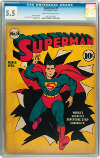Superman #9 (DC, 1941) CGC FN- 5.5 Cream to off-white pages