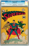 Golden Age (1938-1955):Superhero, Superman #17 (DC, 1942) CGC VG 4.0 Cream to off-white pages....