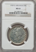 Commemorative Silver: , 1939-D 50C Arkansas MS61 NGC. NGC Census: (1/421). PCGS Population(2/661). Mintage: 2,104. Numismedia Wsl. Price for probl...