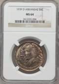 Commemorative Silver: , 1939-D 50C Arkansas MS64 NGC. NGC Census: (191/180). PCGSPopulation (232/257). Mintage: 2,104. Numismedia Wsl. Price forp...