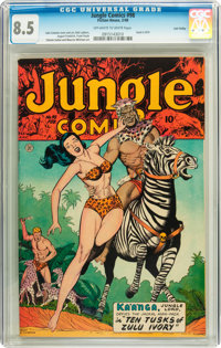 Jungle Comics #98 Lost Valley pedigree (Fiction House, 1948) CGC VF+ 8.5 Off-white to white pages