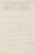 "Autographs:Celebrities, Susan B. Anthony Autograph Note Signed ""Susan B.Anthony.""..."