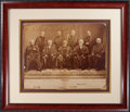 Autographs:Statesmen, Waite Supreme Court Oversized Albumen Photograph Signed by Six of the Nine Justices....