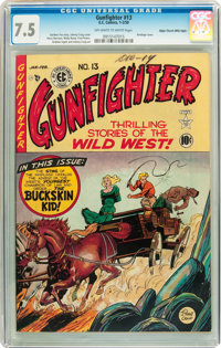 Gunfighter #13 Mile High pedigree (EC, 1950) CGC VF- 7.5 Off-white to white pages