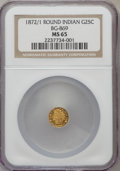 California Fractional Gold, 1872/1 25C Indian Round 25 Cents, BG-869, Low R.4, MS65 NGC....