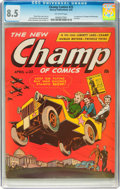 Golden Age (1938-1955):War, Champ Comics #25 (Harvey, 1943) CGC VF+ 8.5 Off-white pages....