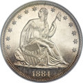 Proof Seated Half Dollars, 1884 50C PR65 Cameo NGC. CAC....