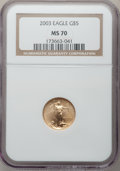 Modern Bullion Coins, 2003 G$5 Tenth-Ounce Gold Eagle MS70 NGC. NGC Census: (0). PCGSPopulation (385). Numismedia Wsl. Price for problem free N...
