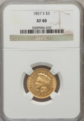 Three Dollar Gold Pieces, 1857-S $3 XF40 NGC....