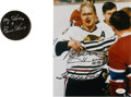 Hockey Collectibles:Others, Bobby Hull and Gordie Howe Signed Memorabilia Lot of 2....