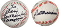 Baseball Collectibles:Balls, Joe DiMaggio and Ted Williams Single Signed Baseballs Lot of 2....