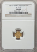 California Fractional Gold: , 1875 50C Indian Octagonal 50 Cents, BG-934, R.4, MS62 NGC. NGCCensus: (2/3). PCGS Population (15/28). (#10792)...
