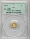 California Fractional Gold: , 1875 50C Indian Round 50 Cents, BG-1037, R.4, MS61 PCGS. PCGSPopulation (1/43). NGC Census: (0/7). (#10866)...