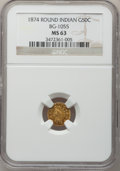 California Fractional Gold: , 1874 50C Indian Round 50 Cents, BG-1055, High R.4, MS63 NGC. NGCCensus: (1/1). PCGS Population (14/8). (#10884)...