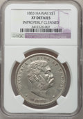 Coins of Hawaii: , 1883 $1 Hawaii Dollar--Improperly Cleaned-- NGC Details. XF. NGCCensus: (48/224). PCGS Population (122/383). Mintage: 500,...