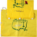 Golf Collectibles:Autographs, Bernhard Langer Signed Masters Flags Lot of 2....