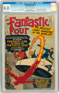 Silver Age (1956-1969):Superhero, Fantastic Four #3 (Marvel, 1962) CGC VG 4.0 Off-white to white pages....