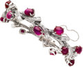 Estate Jewelry:Bracelets, Ruby, Diamond, Platinum Bracelet, circa 1950. ...