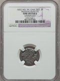 1652 3PENCE No 'IN' Oak Tree Threepence -- Damaged -- NGC Details. Fine. Crosby 6-B, Noe-28, W-310, R.4....(PCGS# 18)