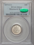 Seated Dimes, 1875-CC 10C Mintmark Below Bow MS64 PCGS. CAC....