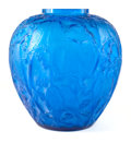 Art Glass:Lalique, R. LALIQUE ELECTRIC BLUE GLASS PERRUCHES VASE . Circa 1919.Engraved: R. Lalique, France . 10 inches high (2...