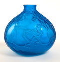 Glass, R. LALIQUE BLUE GLASS COURGES VASE . Circa 1914. Molded: R. Lalique . 8 inches high (20.3 cm). ...