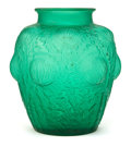 Art Glass:Lalique, R. LALIQUE GREEN GLASS DOMREMY VASE . Circa 1926. Engraved:R. Lalique, France, 979. 8-3/4 inches high (22.2...