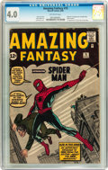 Silver Age (1956-1969):Superhero, Amazing Fantasy #15 (Marvel, 1962) CGC VG 4.0 Off-white pages....
