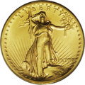 High Relief Double Eagles: , 1907 $20 High Relief, Wire Rim MS64 PCGS. A satiny and impressive olive-gold example of this famous rarity. Careful rotatio...