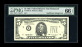 Error Notes:Missing Third Printing, Fr. 1984-E $5 1995 Federal Reserve Note. PMG Gem Uncirculated 66 EPQ.. ...