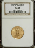 Modern Bullion Coins: , 1987 G$10 Quarter-Ounce Gold Eagle MS69 NGC. NGC Census: (637/2).PCGS Population (425/5). Mintage: 269,255. Numismedia Wsl...