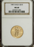 Modern Bullion Coins: , 1987 G$10 Quarter-Ounce Gold Eagle MS68 NGC. NGC Census: (11/639).PCGS Population (21/430). Mintage: 269,255. Numismedia W...