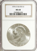Eisenhower Dollars: , 1976-S $1 Silver MS68 NGC. NGC Census: (63/0). PCGS Population (327/0). Mintage: 11,000,000. Numismedia Wsl. Price for NGC/...