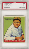 Baseball Cards:Singles (1930-1939), 1933 Goudey Babe Ruth #181 PSA EX 5. The greatest figure inbaseball history appears four times in this Depression-era issu...