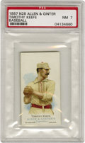 """Baseball Cards:Singles (Pre-1930), 1887 N28 Allen & Ginter Timothy Keefe PSA NM 7. One of the game's first 300 game winners, """"Smiling Tim"""" shows off his Hall ..."""