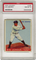 Baseball Cards:Singles (1930-1939), 1933 Goudey Lou Gehrig #160 PSA NM-MT 8. Those wishing to secure asuperior example of this highly coveted card are almost ...