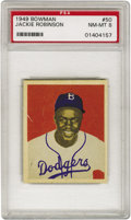 Baseball Cards:Singles (1940-1949), 1949 Bowman Jackie Robinson #50 PSA NM-MT 8. Fewer than tenexamples of this important card have ever graded higher than th...