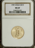 Modern Bullion Coins: , 1989 G$10 Quarter-Ounce Gold Eagle MS69 NGC. NGC Census: (518/10).PCGS Population (1239/40). Mintage: 81,789. Numismedia W...