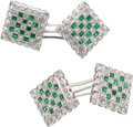 Estate Jewelry:Cufflinks, Gentleman's Diamond, Emerald, White Gold Cuff Links. ...