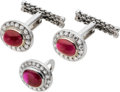 Estate Jewelry:Cufflinks, Art Deco Gentleman's Ruby, Diamond, White Gold Cuff Links and LapelButton, Golay Freres. ...