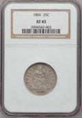 Seated Quarters, 1866 25C Motto XF45 NGC....