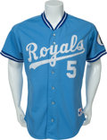 Baseball Collectibles:Uniforms, 1991 George Brett Game Worn Kansas City Royals Jersey....