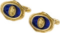 Estate Jewelry:Cufflinks, Enamel, Gold Cuff Links, Elizabeth Gage, English. ...