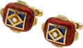 Estate Jewelry:Cufflinks, Enamel, Diamond, Cuff Links, Elizabeth Gage, English. ...