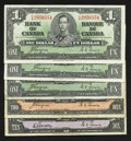 Canadian Currency: , $1; $2 and $10 1937 Notes.. ... (Total: 5 notes)