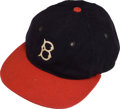 Baseball Collectibles:Uniforms, 1935 Babe Ruth Game Worn Boston Braves Cap from Teammate'sEstate....